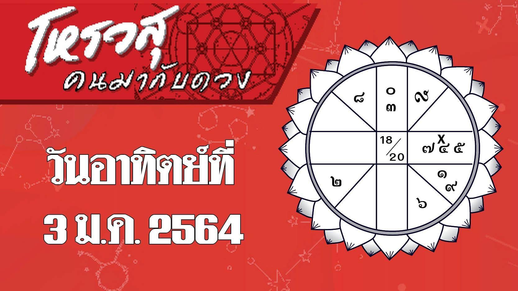 ดวงวันอาทิตย์ที่ 3 มกราคม 2564 ราศีใดมีปัญหาเรื่องความจำ ราศีใดระวังทะเลาะเพื่อนบ้าน