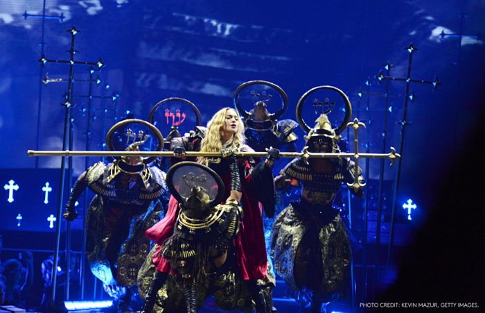 "MONTREAL, QC - SEPTEMBER 09:  Madonna performs onstage during her ""Rebel Heart"" tour opener at Bell Centre on September 9, 2015 in Montreal, Canada.  (Photo by Kevin Mazur/Getty Images for Live Nation)"