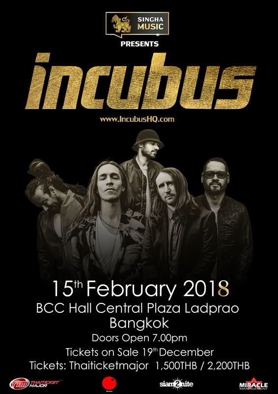 15 ก.พ.นี้ มาร่วมแฮปปีเบิร์ธเดย์ให้กับ แบรนดอน บอยด์ ใน Incubus live in Bangkok 2018
