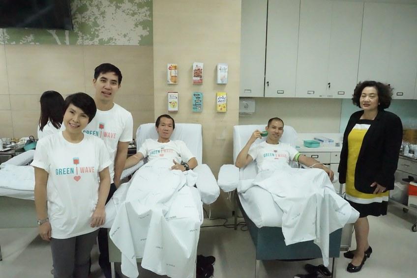 กรีนเวฟ รวมทีมคนใจดี บริจาคโลหิต 4 สถานที่ในวันเดียว ใน Green Wave Blood 4 Lunteers