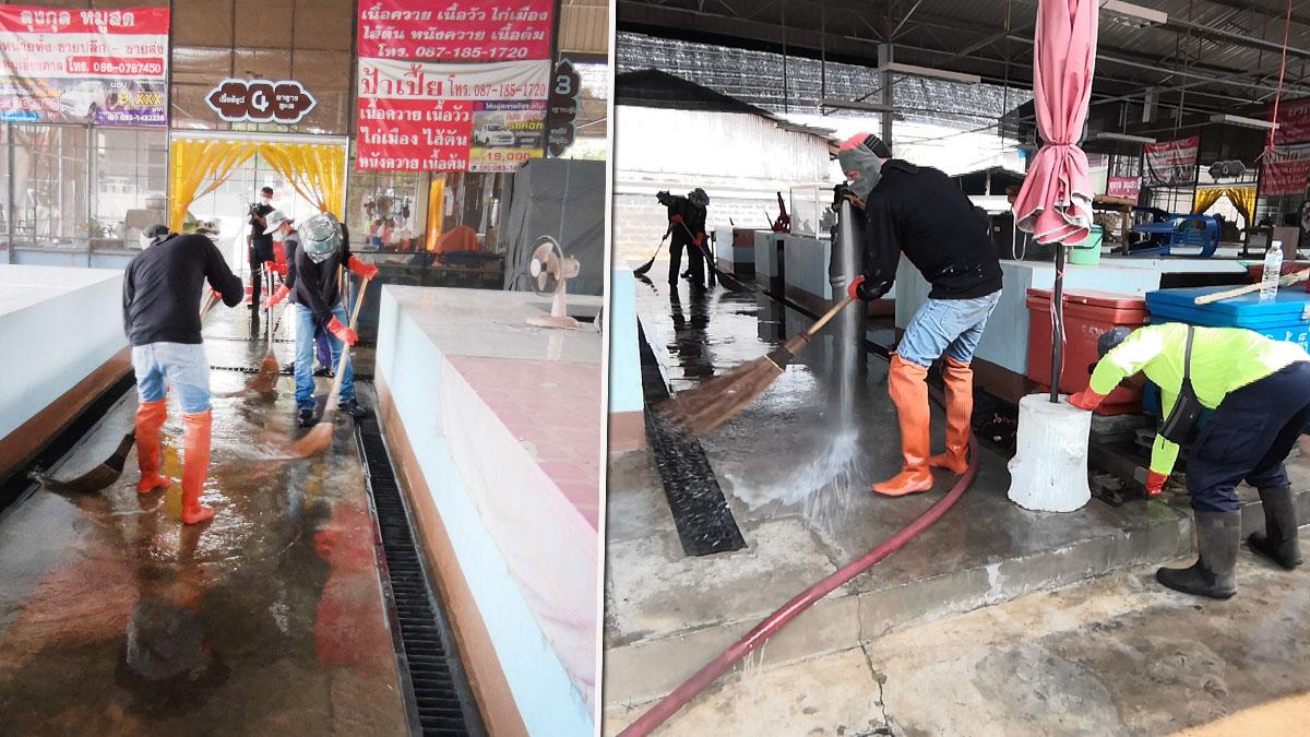 เทศบาลเมืองล้อมแรด Big cleaning ตลาดสด ป้องกันโควิด
