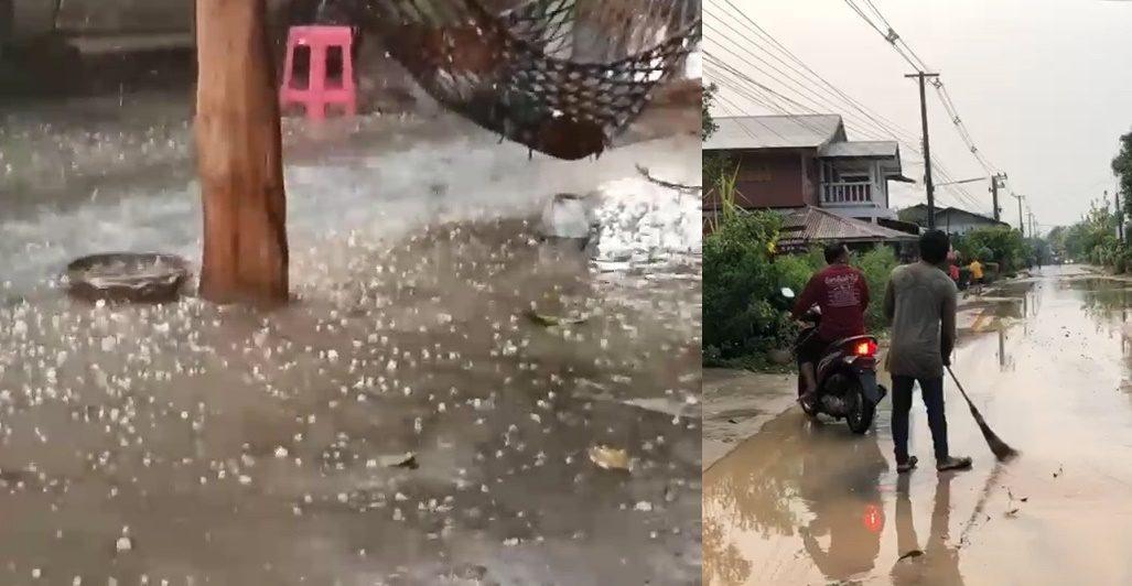 พายุลูกเห็บ ถล่มหมู่บ้านช้าง บ้านเสียหายกว่า 10 หลังคาเรือน ยุ้งข้าวพังเสียหาย