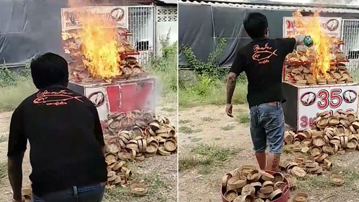 หนุ่มพ่อค้าปลาทู โดนAI ตัดสิทธิ์เยียวยา 5พัน ประชดแรง จุดไฟราดน้ำมัน เผาร้านตัวเอง