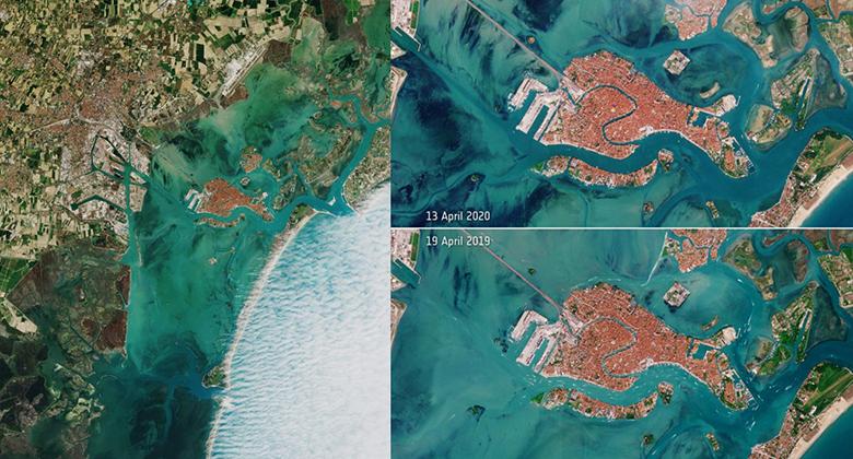 โควิด:เวนิส ส่องจากอวกาศ ภาพถ่ายดาวเทียมเผยน้ำในคลองก่อน-หลัง
