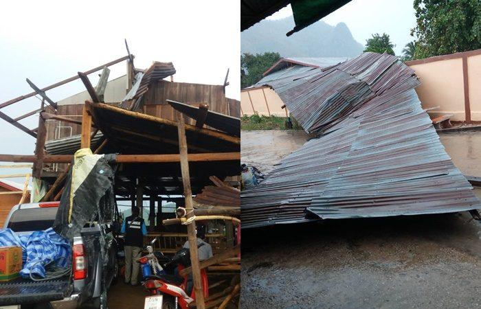 พายุฤดูร้อนพัดถล่มหลังคาบ้านเรือน เสาไฟฟ้า ต้นไม้หักโค่น หลายอำเภอใน จ.เลย