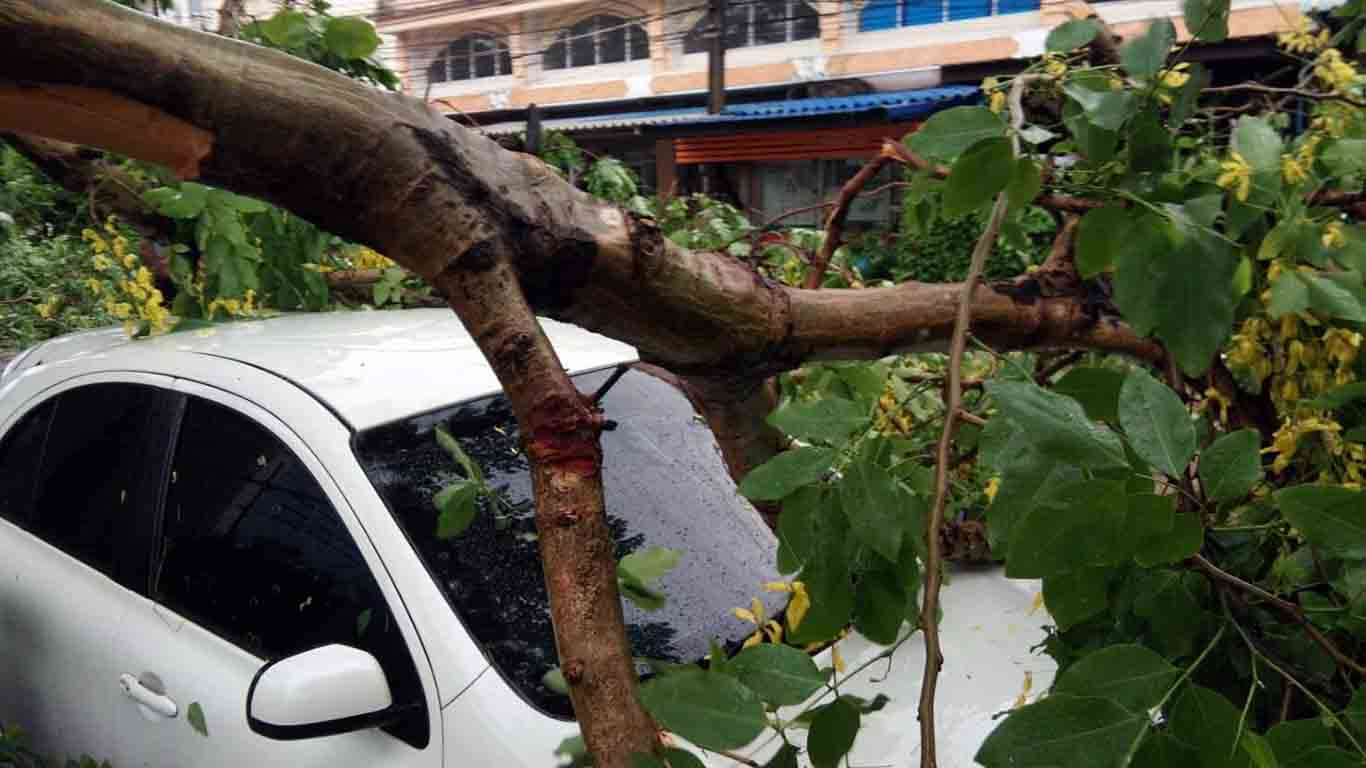 พายุฤดูร้อนถล่ม อ.กบินทร์บุรี ต้อนไม้หักโคกทับรถเสียหาย