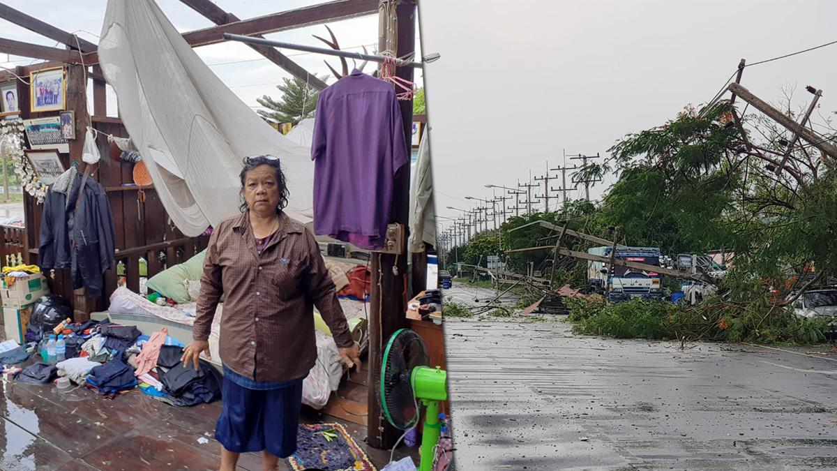 ลพบุรี อ่วม! พายุฤดูร้อน ซัดบ้านพังหลังคาปลิว เสาไฟฟ้าหักโค่น ระเนระนาดขวางถนน