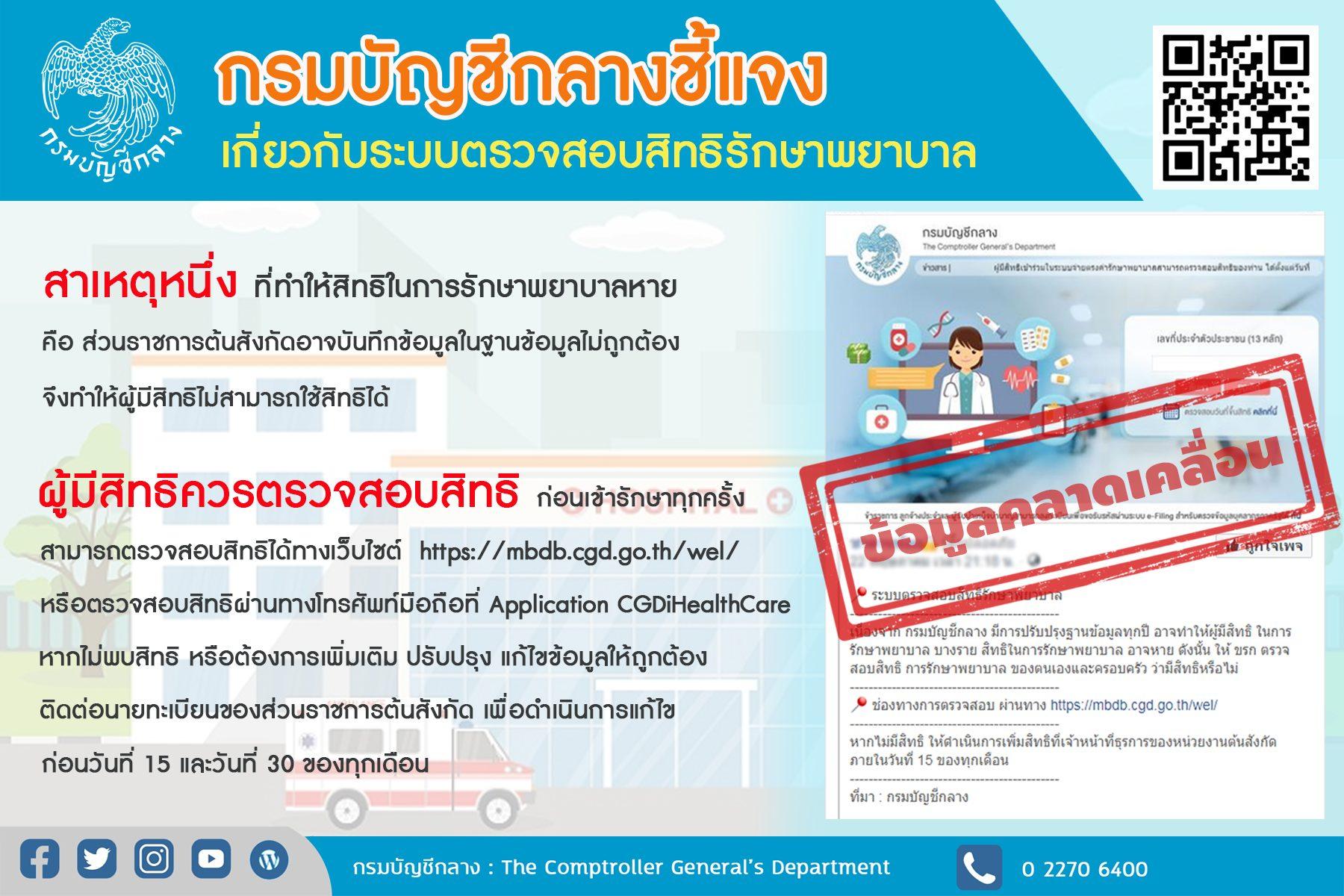กรมบัญชีกลางแจงระบบตรวจสอบสิทธิรักษาพยาบาลข้าราชการ-ครอบครัว