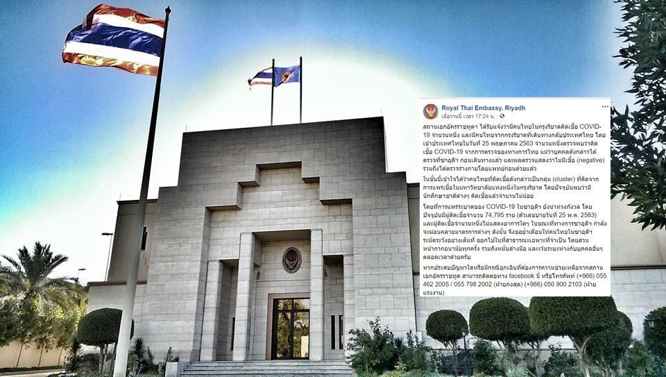 สถานทูตเผย คนไทยป่วยโควิดหลังกลับจากซาอุฯ ผ่านการตรวจก่อนกลับแล้ว 'ผลเป็นลบ'