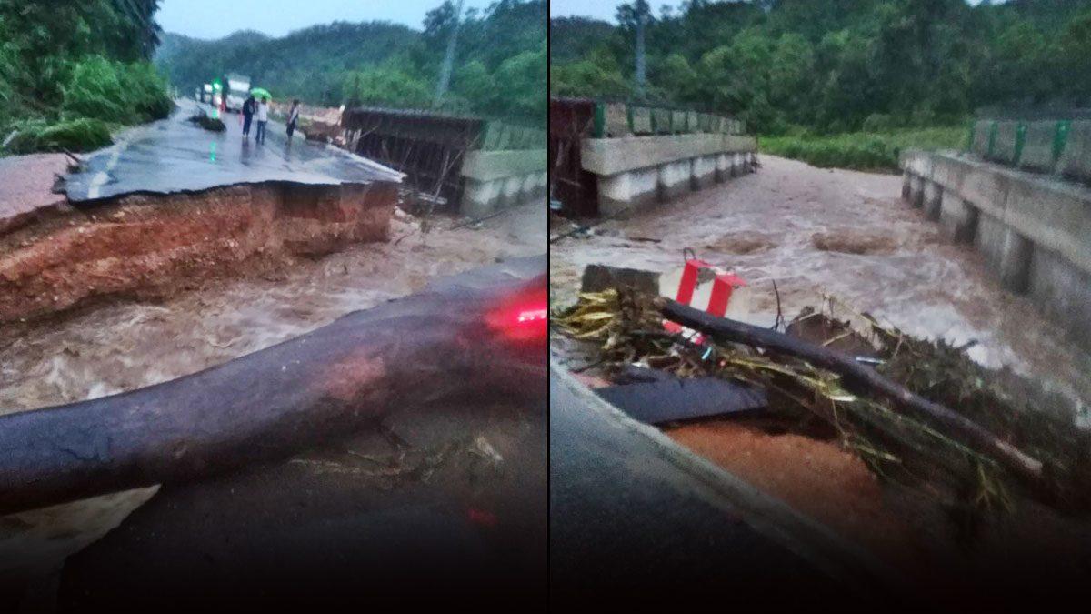 ฝนถล่ม!น้ำป่าหลากซัดสะพานขาด เซาะถนนสายเชียงใหม่-เชียงรายรถวิ่งไม่ได้