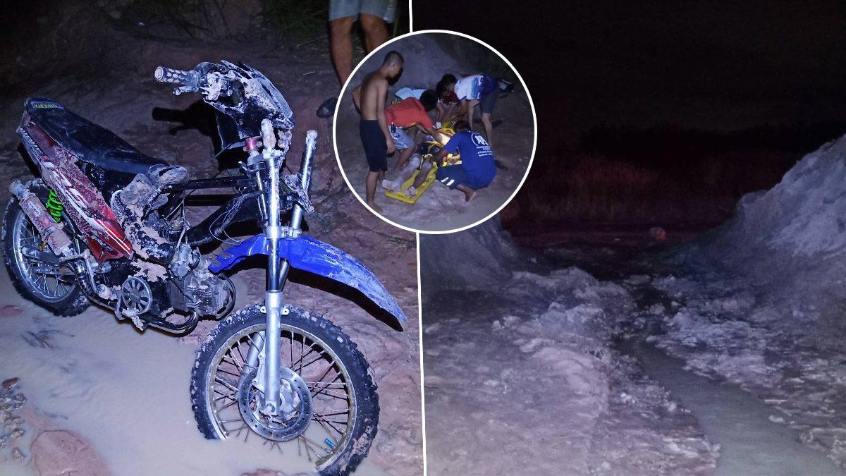 หนุ่มเมาได้ที่ อยากลองรถวิบาก แต่ไม่รู้ทาง ซิ่งตกบ่อทรายสูง 4 เมตร!