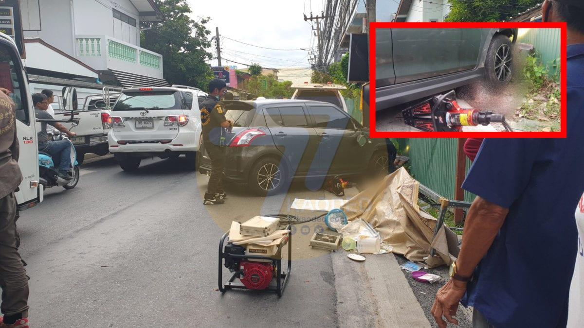 เก๋งซิ่งเข้าซอยอ้างหักหลบรถพุ่งชนคนซื้อปาท่องโก๋ดับคาใต้ท้องรถ