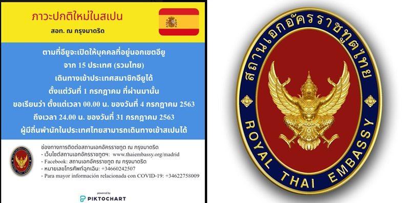 สถานทูตเผย คนไทยเข้าสเปนได้แล้วตั้งแต่วันนี้