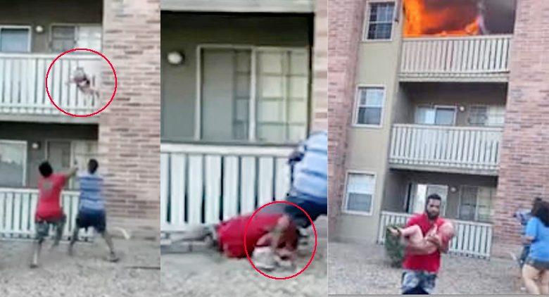 พุ่งตัวรับเด็กตกตึก สวมวิญญาณนักอเมริกันฟุตบอล แม่โยนหนีไฟไหม้