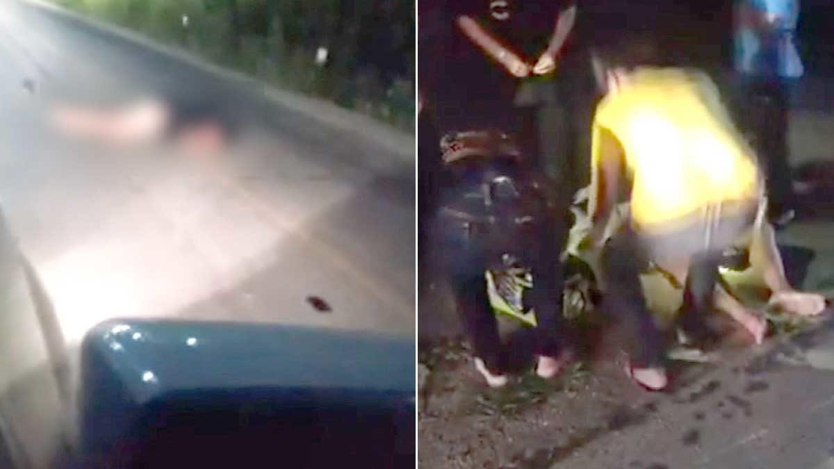 หนุ่มเมาปลิ้น นอนกลางถนน พลเมืองดีนึกว่าโจร สักพักเสียงกรนสนั่น รถวิ่งเกือบทับหัว