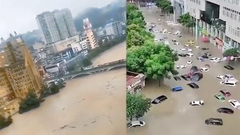"""อู่ฮั่น-เซี่ยงไฮ้ """"เตือนภัยสูงสุด"""" วิกฤตน้ำท่วม ชาวบ้านแห่ช่วยกั้นแนวกระสอบทราย (คลิป)"""