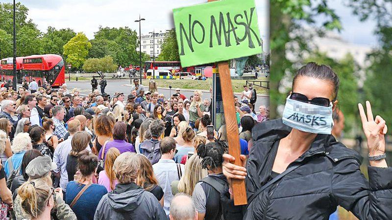 """โควิด: ม็อบโผล่ต้านรบ.อังกฤษ บังคับใส่ """"หน้ากาก"""" อ้างเสรีภาพ-สิทธิมนุษยชน (คลิป)"""