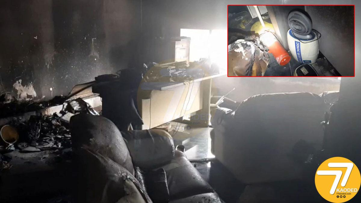 ไฟไหม้ออฟฟิศบริษัทเอกชนย่านกิ่งแก้ว ผู้ดูแลสำลักควันดับคากองเพลิง