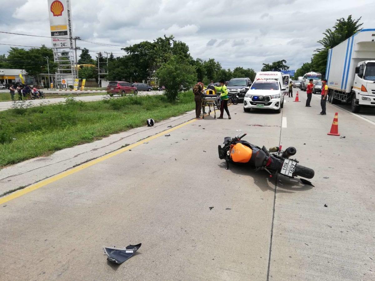 หนุ่มพนักงานขายลำปางซิ่งบิ๊กไบด์เสยท้ายสิบล้อทั้งคนทั้งรถครูดกับถนนอาการสาหัสก่อนไปเสียชีวิตที่รพ.