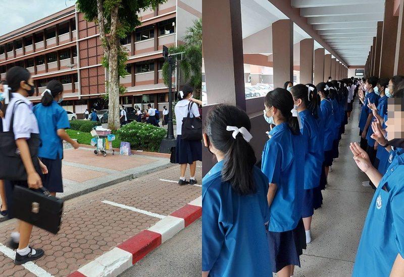 นักเรียนโรงเรียนสุรนารี พร้อมใจกันผูกโบว์สีขาว ยืนชู 3 นิ้ว ผอ.แจงเป็นธรรมเนียมปฏิบัติปกติ
