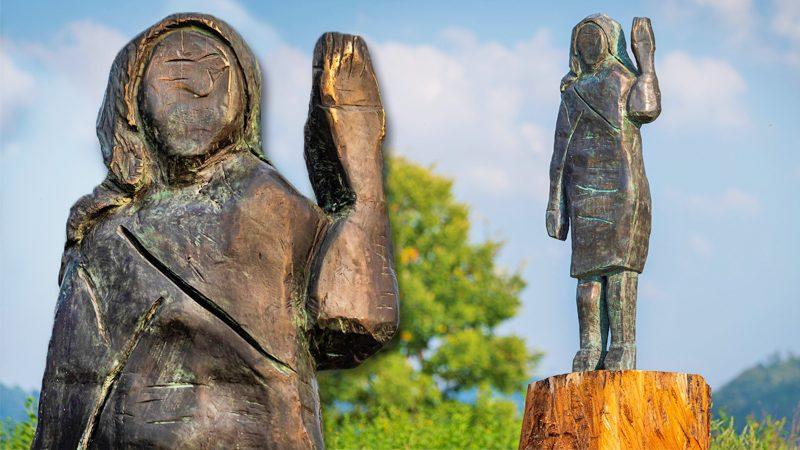 """เปิดตัวรูปสลักใหม่ """"เมลาเนีย"""" แทนของเดิมที่ถูกเผาวอด ศิลปินย้ำสร้างแขวะทรัมป์"""