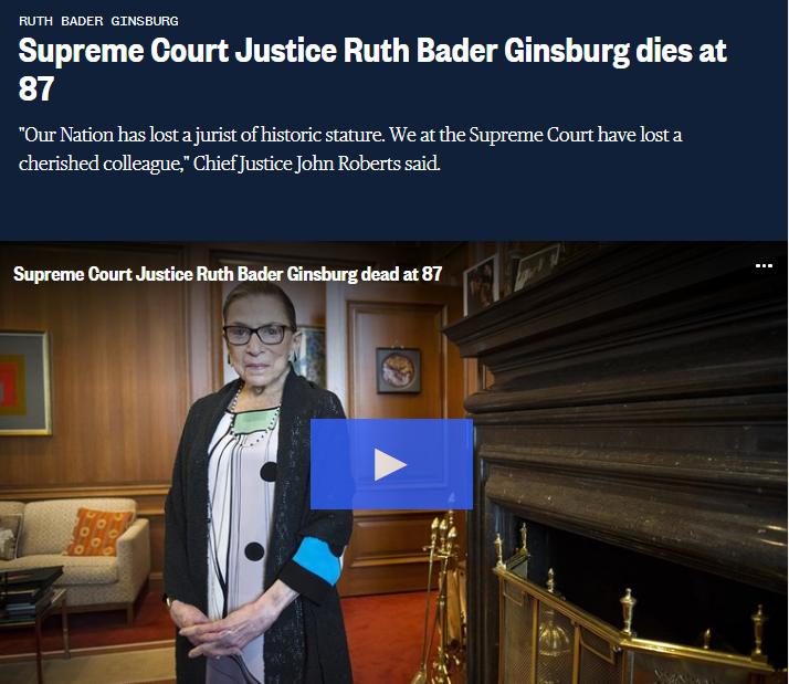 อาลัย 'รูธ กินส์เบิร์ก' ผู้พิพากษาศาลสูงสุดสหรัฐฯ เสียชีวิตด้วยวัย 87 ปี