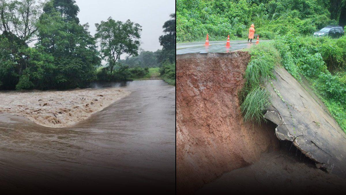 ฝนตกไม่หยุด น้ำป่าทะลัก 'สวนผึ้ง' ถนนถูกตัดขาด วัว-แพะ หายไปกับสายน้ำ