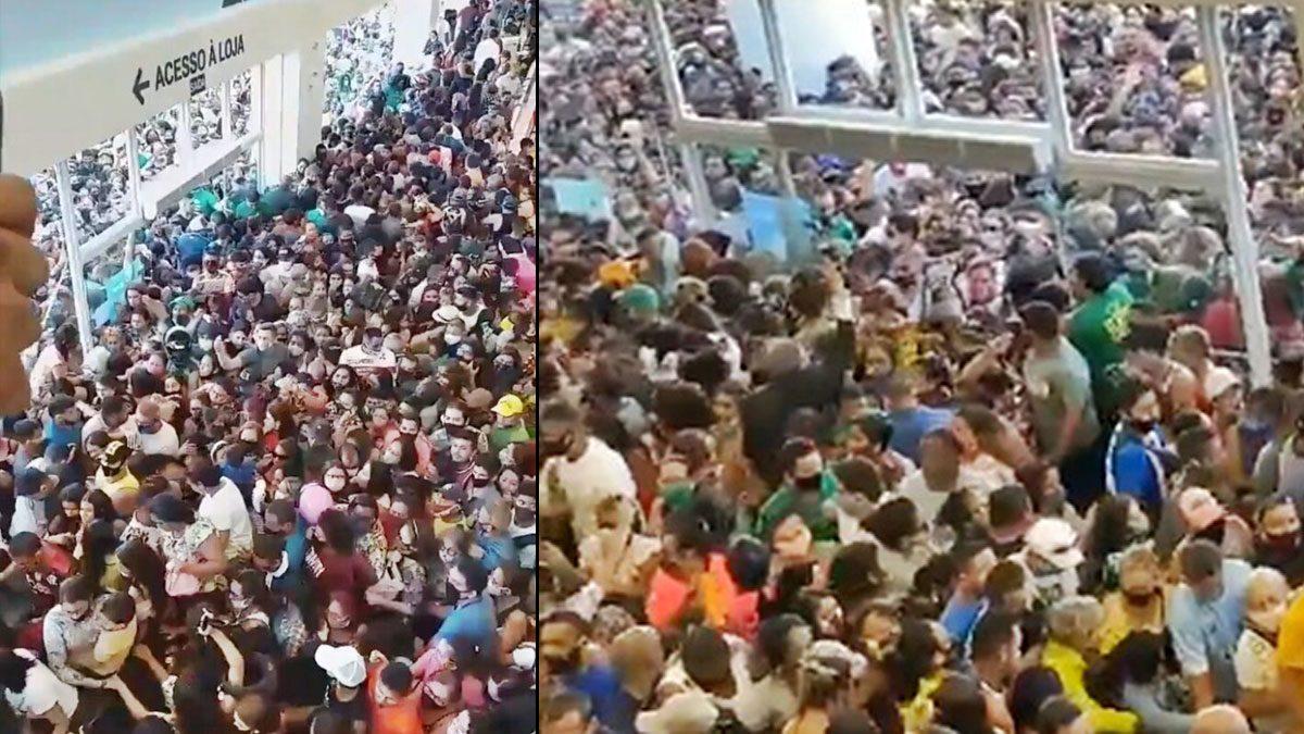 แห่เที่ยวทะลัก! ชาวบราซิลนับพันเบียดเสียดร่วมเปิดตัวห้างใหม่ แบบไม่กลัวโควิด
