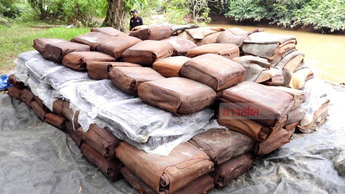 พบยางพาราแผ่นดิบ 10 ตัน ริมชายแดน คาดพม่าลักลอบ ขายให้นายทุนไทย