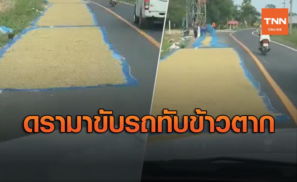 ดรามาใครถูก-ใครผิด? หนุ่มขับรถเหยียบข้าวเปลือกตากบนถนน