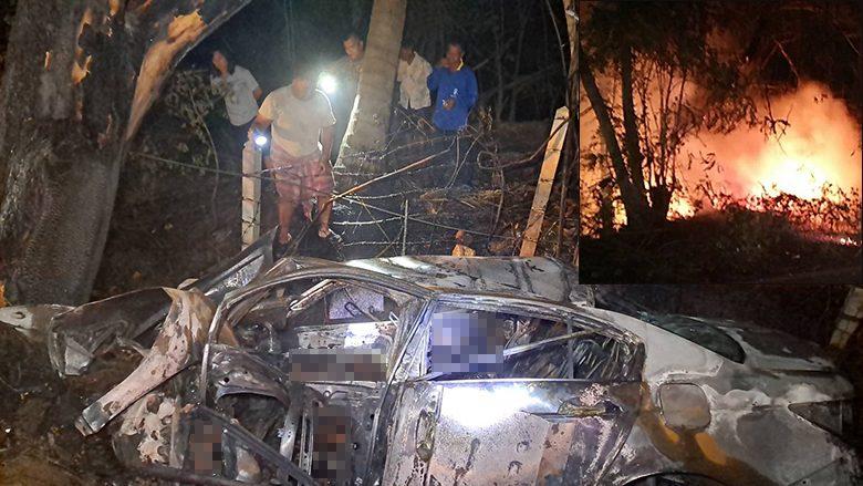 เก๋งพุ่งตกถนนไฟลุกท่วม คร่า2ชีวิต อีกรายกระเด็นจากรถ รอดหวุดหวิด