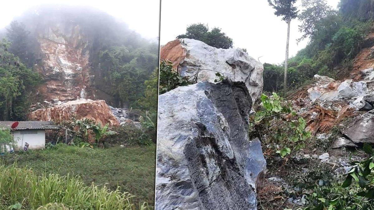 ภูเขาหินหนักหลายพันตัน ถล่มทับบ้านชาวบ้าน หวั่นถล่มซ้ำ สั่งห้ามเข้าพื้นที่