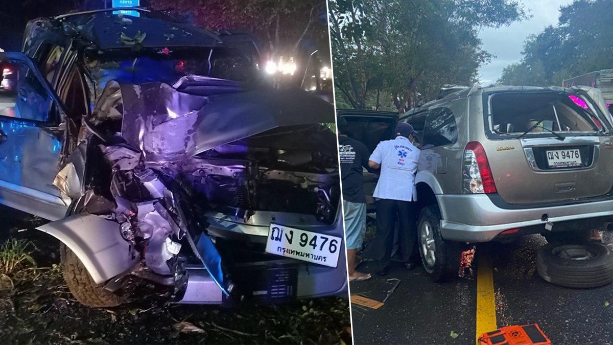 สลด! ฝนตกถนนลื่น รถเสียหลักพุ่งชนต้นไม้พังยับ ยายวัย 70 ดับคาที่ เจ็บอีก 3