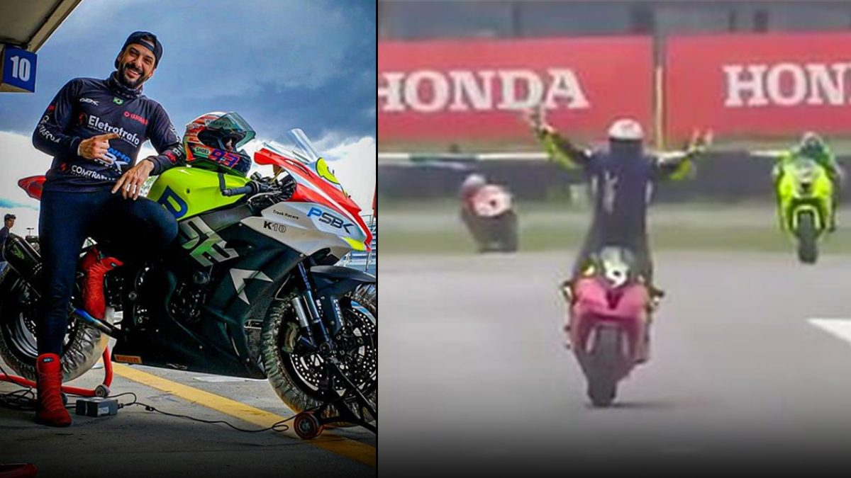 อย่าหาทำ! นักแข่งจักรยานยนต์ ชูมือฉลองก่อนถึงเส้นชัยหลังนำโด่ง สุดท้ายโดนแซงตกอันดับ