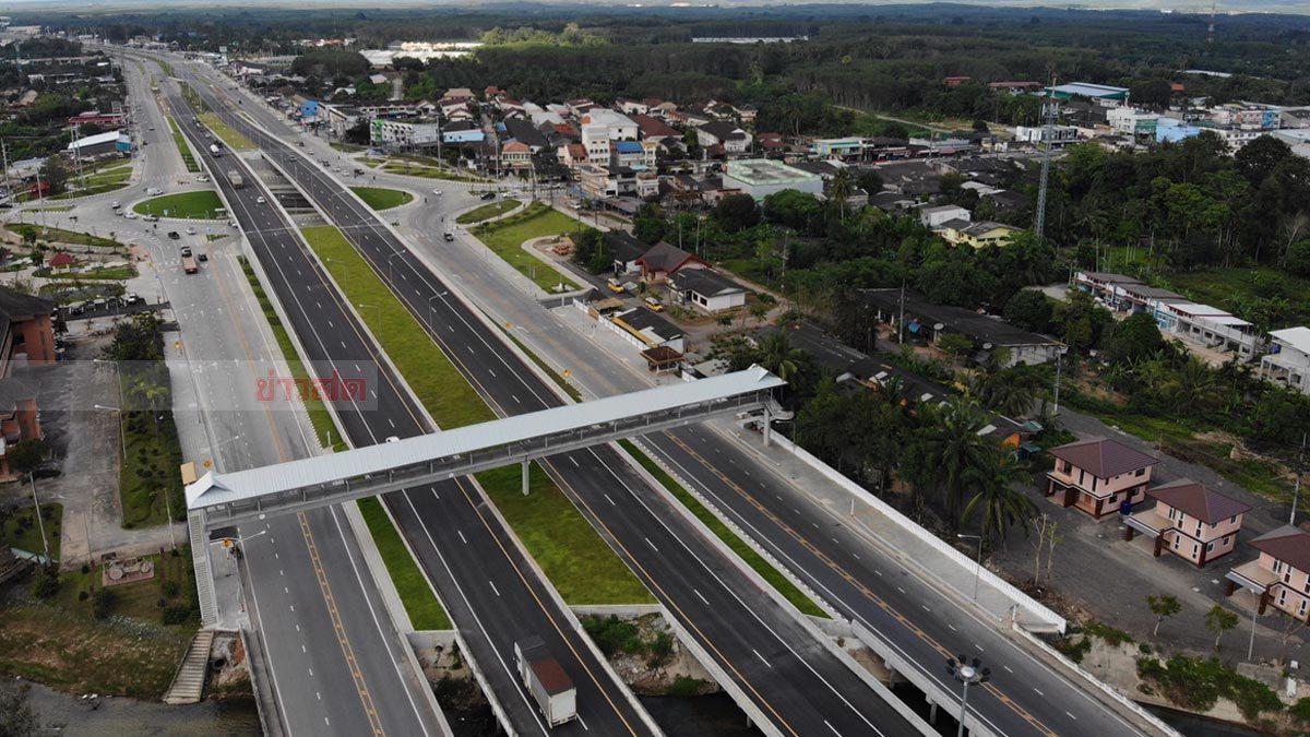 เสร็จก่อนกำหนด 7 เดือน สะพานข้ามแยกเวียงสระ พร้อมใช้แล้ว ช่วงปีใหม่