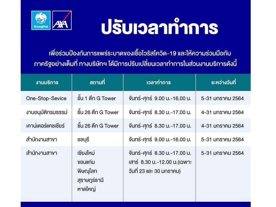 กรุงไทย–แอกซ่า ประกันชีวิต ปรับเวลาทำการ