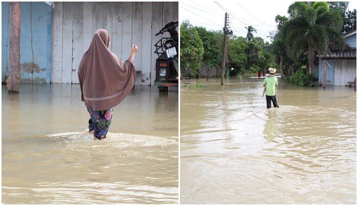 นราธิวาสอ่วม! น้ำท่วมขัง ชาวบ้านต้องลุยน้ำ
