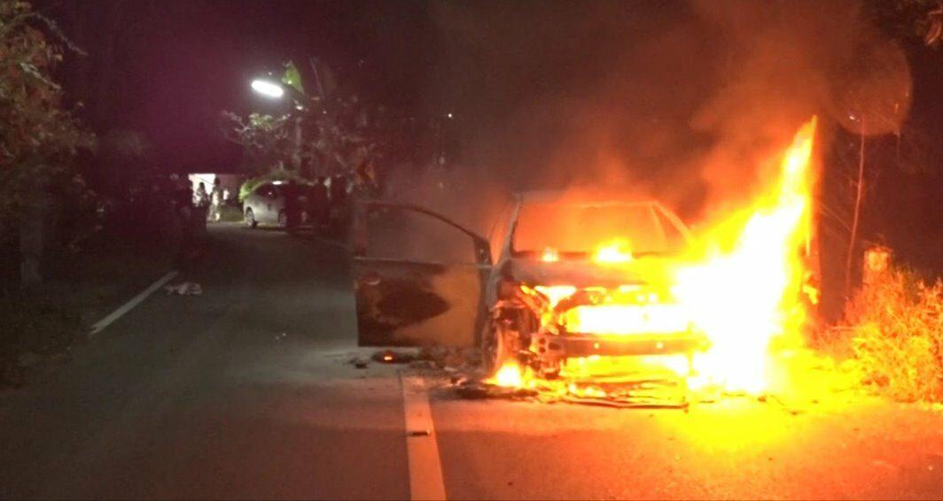 ไฟไหม้วีออส ร้อยตำรวจเอก วอดทั้งคัน คาด ระบบแก๊สมีปัญหา
