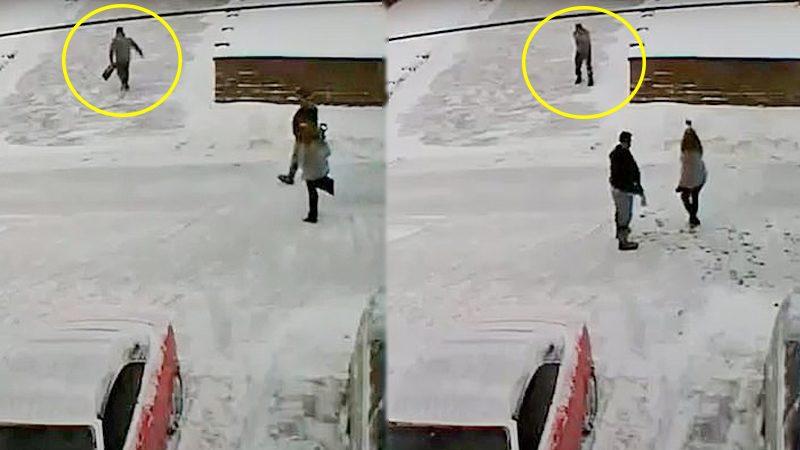 """มะกันฮึ่มผัวเมีย """"โกยหิมะ"""" ทิ้งหน้าบ้าน ชักปืนสาดกระสุนดับคู่-ก่อนปลิดชีพ (คลิป)"""