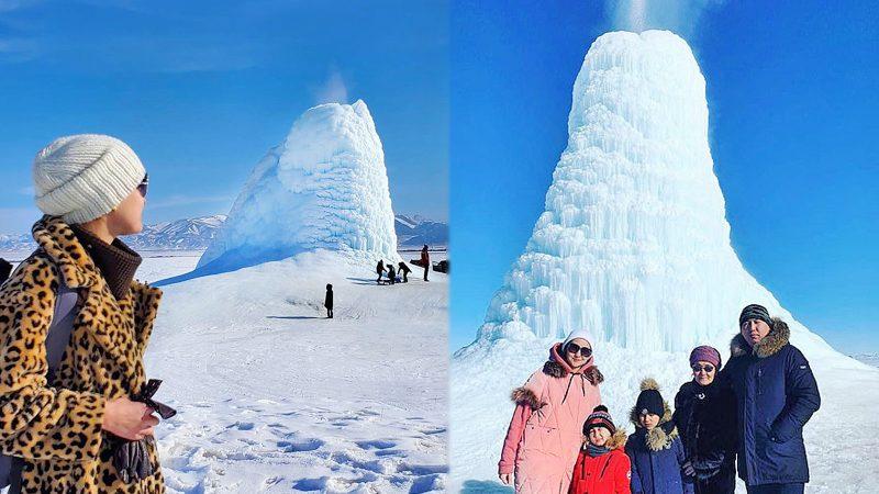 """ฮือฮา """"ภูเขาไฟน้ำแข็ง"""" สูงเกือบ 14 เมตร-พ่นควันเย็น คนแห่ดูถ่ายรูปคึกคัก (คลิป)"""