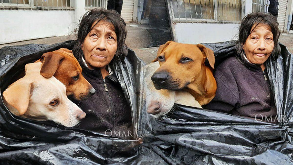 หญิงไร้บ้าน นอนใน 'ถุงขยะ' พร้อมกับหมาอีก 6 ตัว ลั่นทิ้งไม่ลง ทั้งชีวิตเหลือแค่นี้