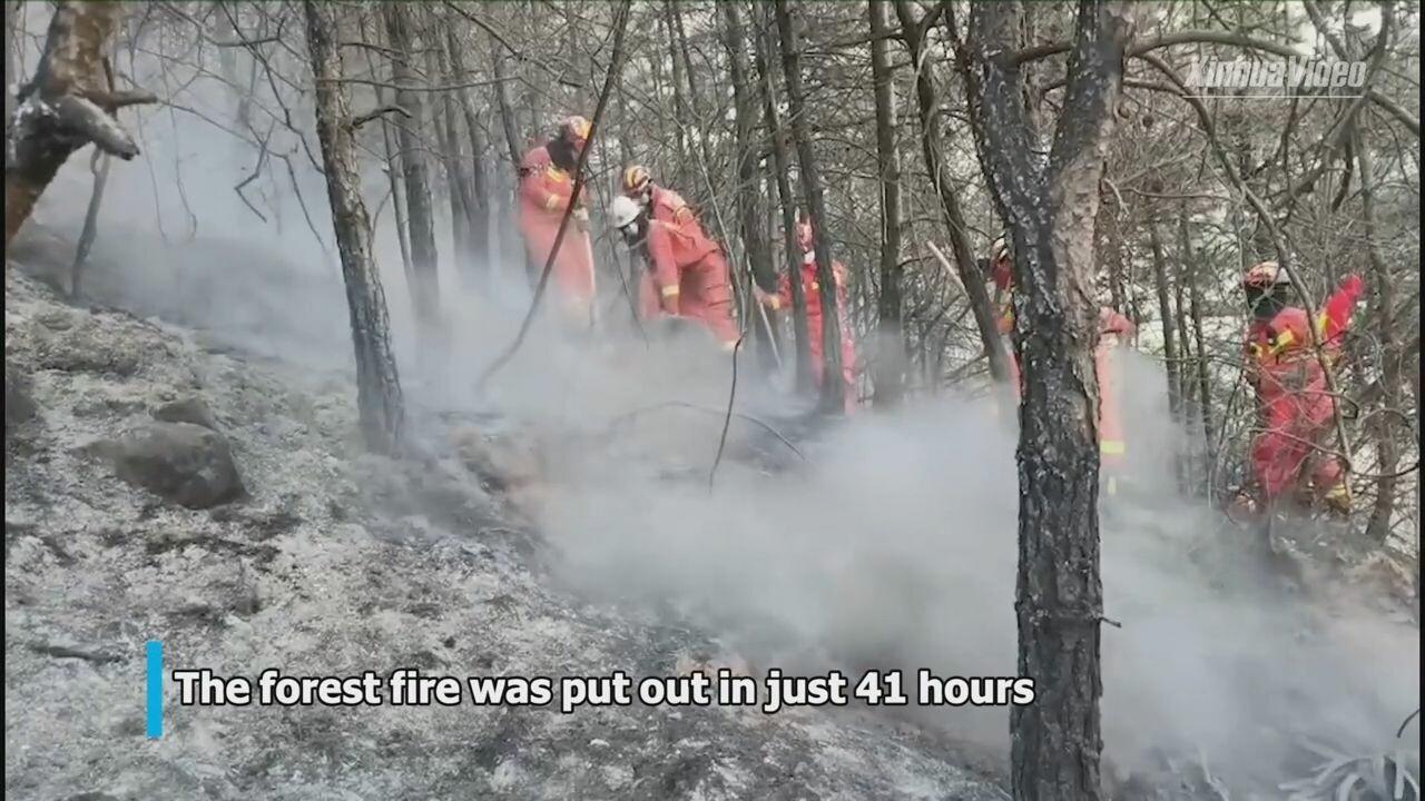 ฮีโร่! นักผจญเพลิงจีนรวมพลังพิชิต 'ไฟป่าสองมณฑล' ใน 41 ชม.