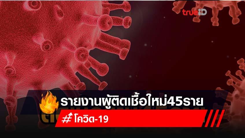 โควิดไทยวันนี้ พบติดเชื้อใหม่ 45 ราย เหลือรักษาใน รพ. 774 ราย