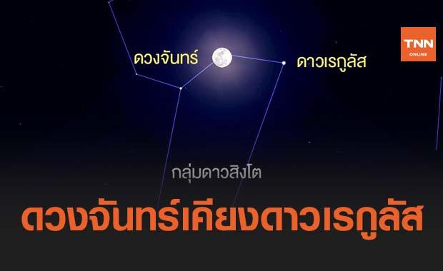 มาฆบูชา ชวนชม ดวงจันทร์เคียงดาวเรกูลัส สังเกตเห็นได้ตลอดทั้งคืน