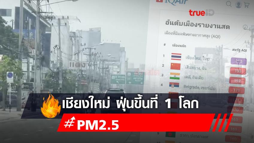 เชียงใหม่กระอัก ฝุ่น PM2.5 เกินค่ามาตรฐาน อันดับ 1 ของโลก