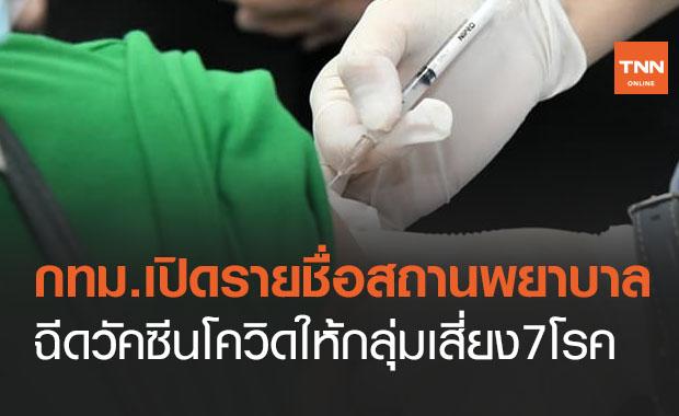 เช็กที่นี่! กทม.เปิดรายชื่อสถานพยาบาล ฉีดวัคซีนโควิดให้กลุ่มเสี่ยง7โรค