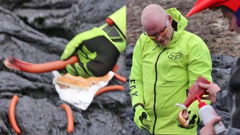 """น้ำลายไหล! นักวิทย์สำรวจภูเขาไฟไอซ์แลนด์ โชว์กินไส้กรอก """"ย่างลาวา"""" (คลิป)"""
