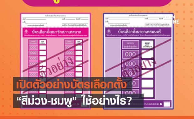 """เปิดตัวอย่างบัตร """"เลือกตั้งเทศบาล"""" 28 มีนาคม """"สีม่วง-ชมพู"""" ใช้อย่างไร?"""