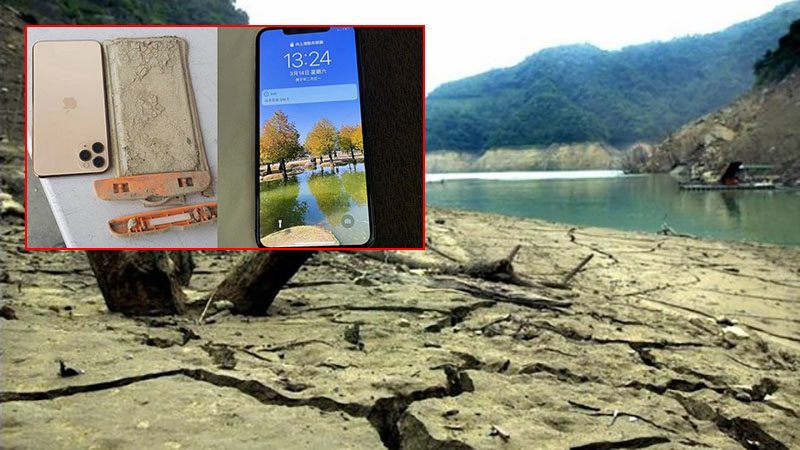 หนุ่มไต้หวันได้มือถือคืน ทำตกทะเลสาบปีที่แล้ว ก่อนภัยแล้งถาโถมจนน้ำแห้งเหือด