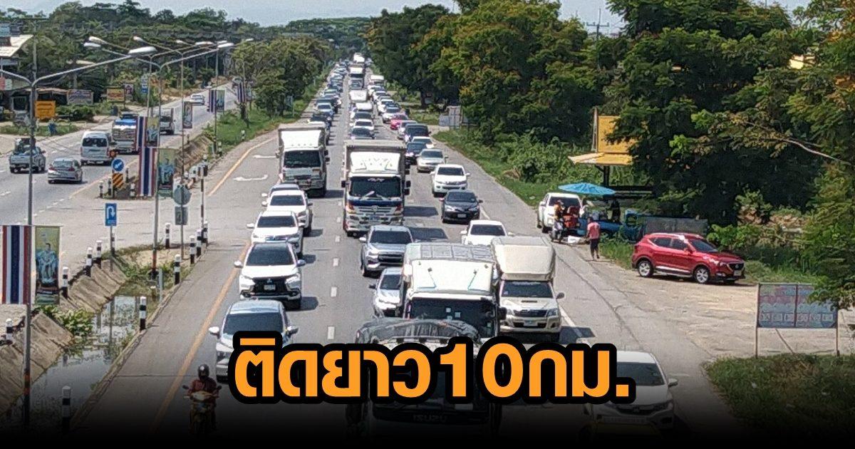 ลงใต้หนาแน่น ถ.เพชรเกษม ช่วงกุยบุรี รถติดยาวสะสม 10 กิโลเมตร